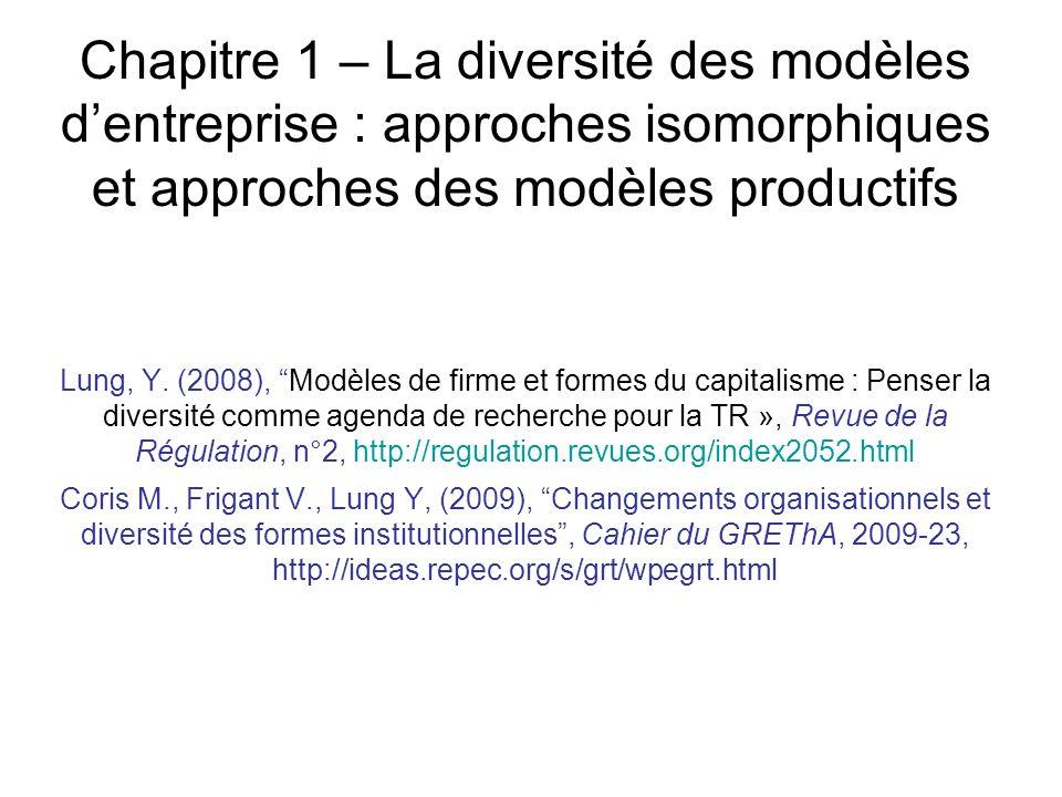 Chapitre 1 – La diversité des modèles d'entreprise : approches isomorphiques et approches des modèles productifs