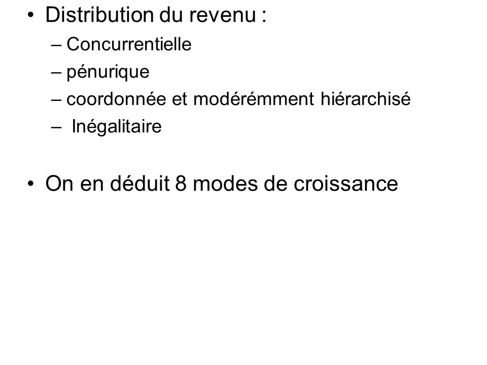 Distribution du revenu :
