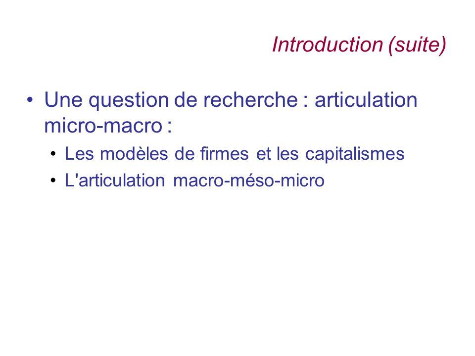 Une question de recherche : articulation micro-macro :
