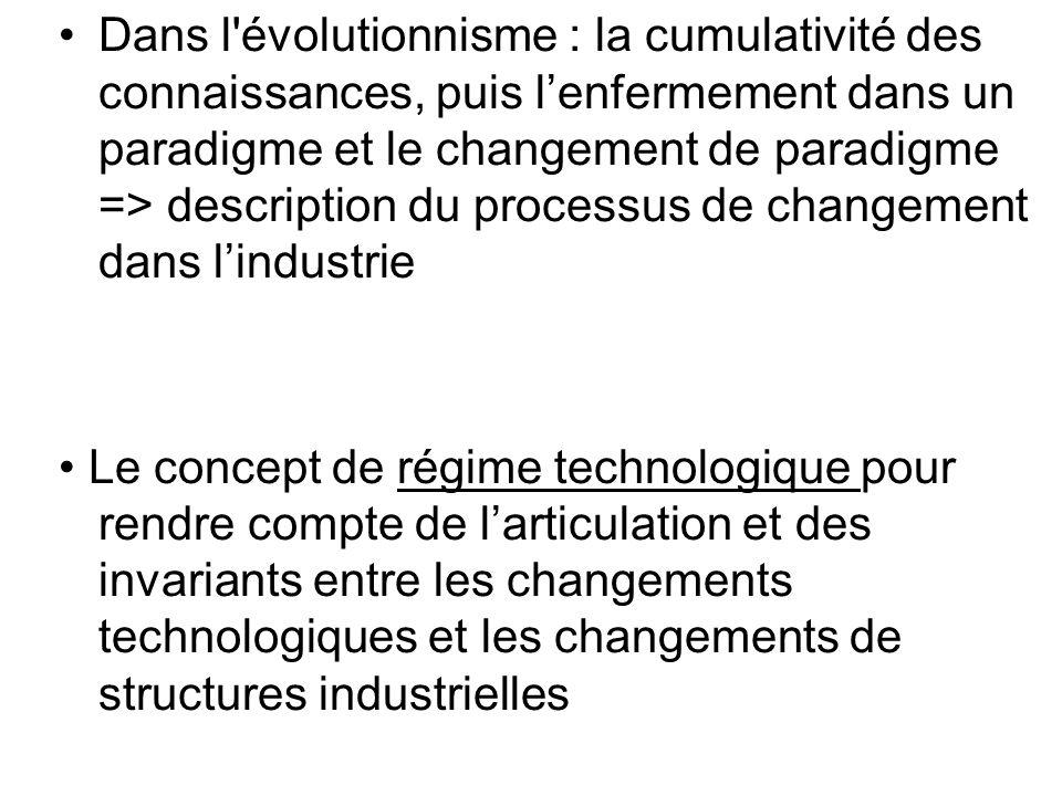 • Dans l évolutionnisme : la cumulativité des connaissances, puis l'enfermement dans un paradigme et le changement de paradigme => description du processus de changement dans l'industrie