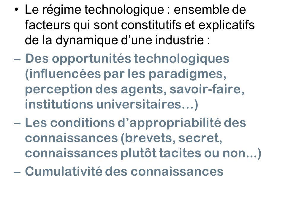 • Le régime technologique : ensemble de facteurs qui sont constitutifs et explicatifs de la dynamique d'une industrie :