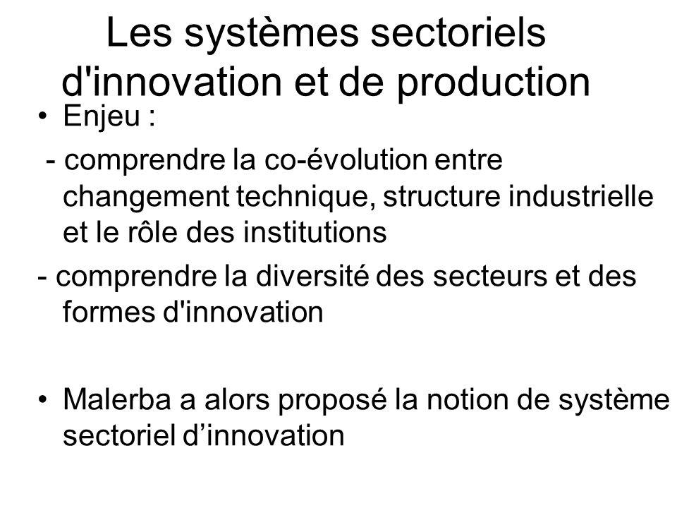 Les systèmes sectoriels d innovation et de production
