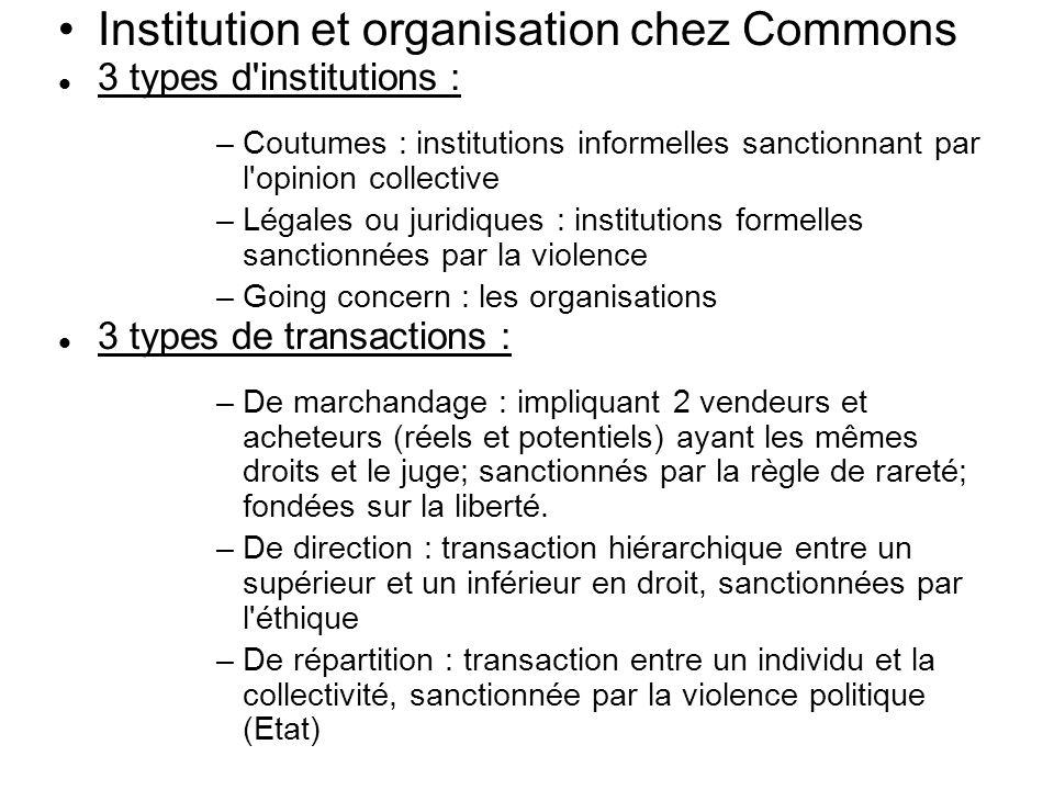Institution et organisation chez Commons