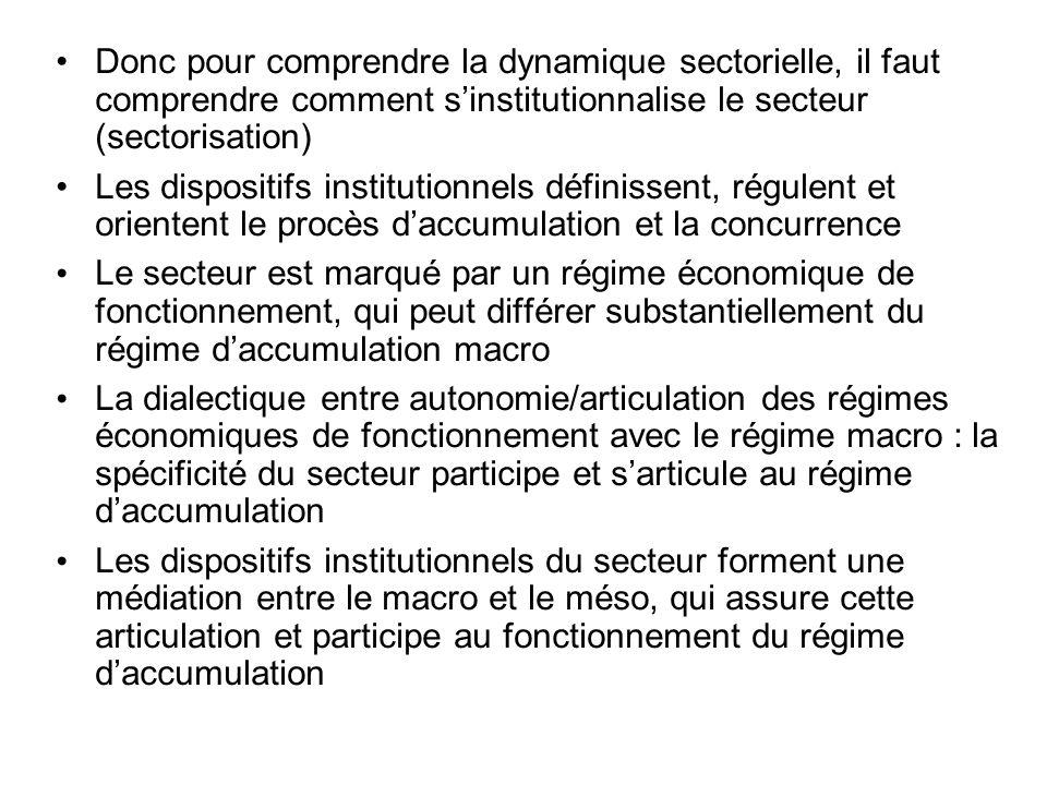 • Donc pour comprendre la dynamique sectorielle, il faut comprendre comment s'institutionnalise le secteur (sectorisation)