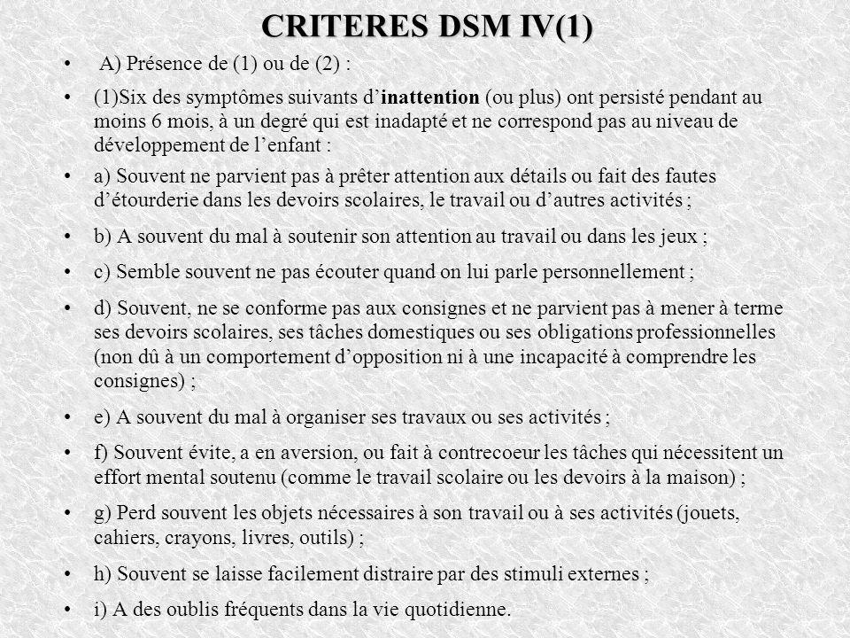 CRITERES DSM IV(1) A) Présence de (1) ou de (2) :