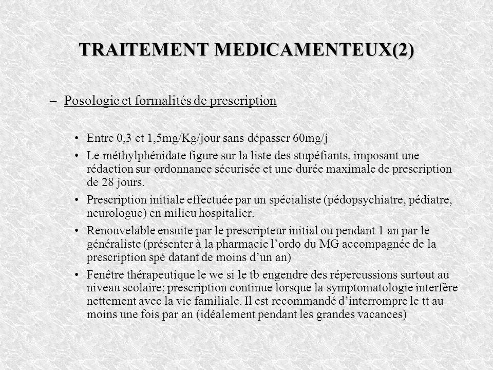 TRAITEMENT MEDICAMENTEUX(2)