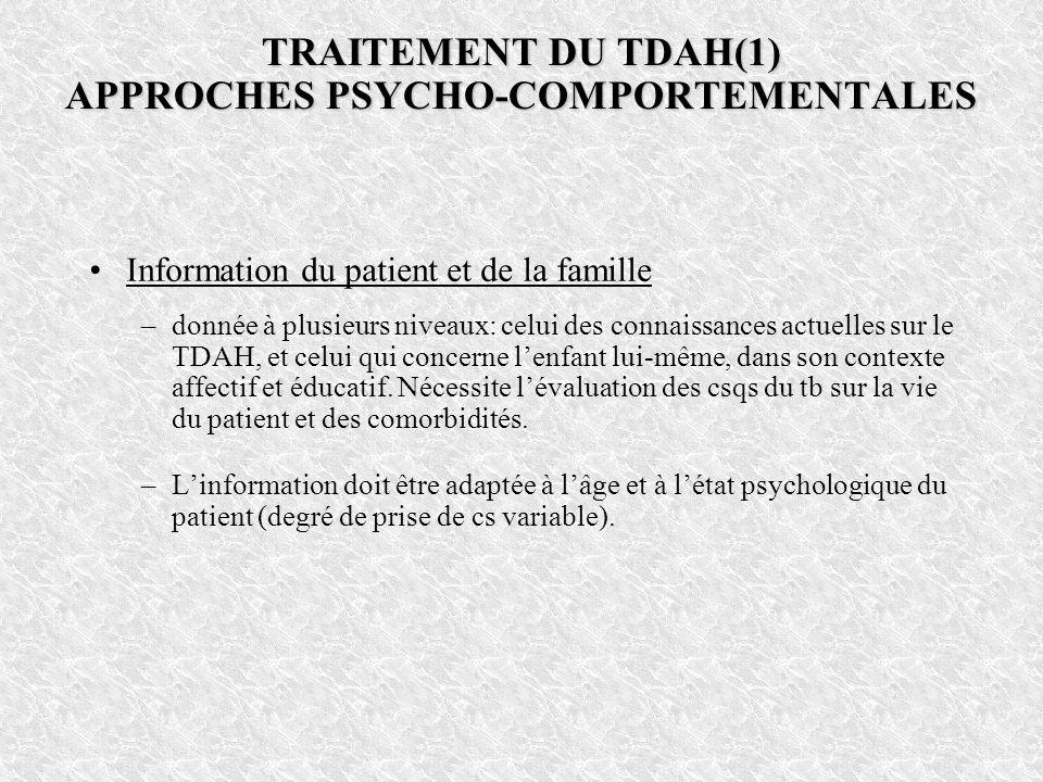 TRAITEMENT DU TDAH(1) APPROCHES PSYCHO-COMPORTEMENTALES