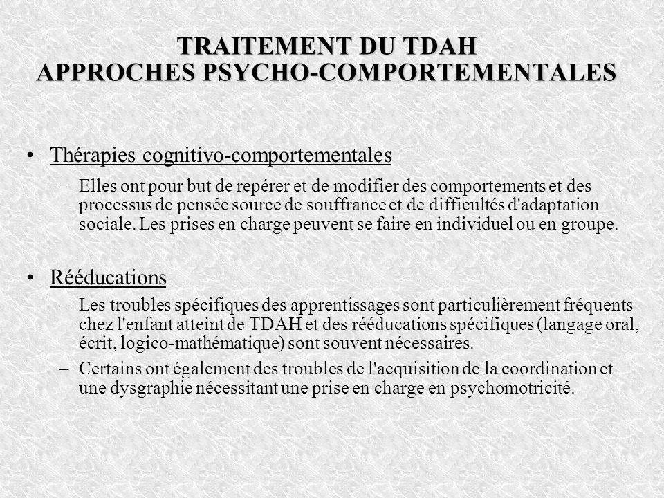 TRAITEMENT DU TDAH APPROCHES PSYCHO-COMPORTEMENTALES