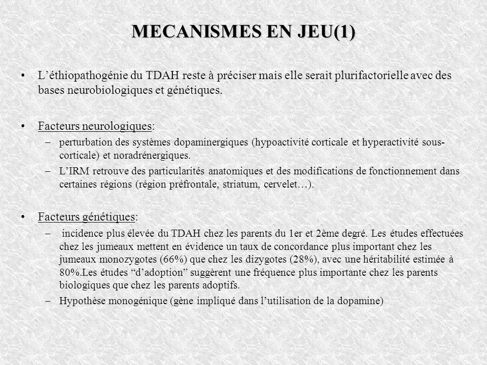 MECANISMES EN JEU(1) L'éthiopathogénie du TDAH reste à préciser mais elle serait plurifactorielle avec des bases neurobiologiques et génétiques.