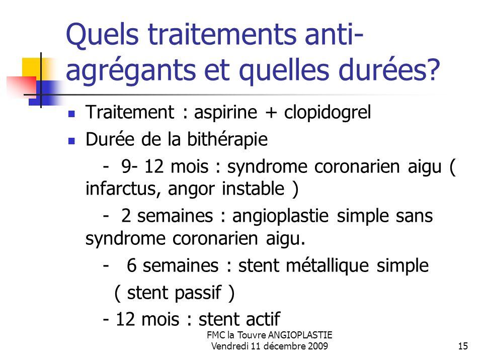 Quels traitements anti-agrégants et quelles durées