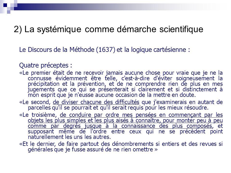 2) La systémique comme démarche scientifique
