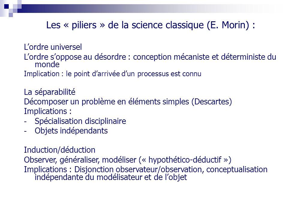 Les « piliers » de la science classique (E. Morin) :
