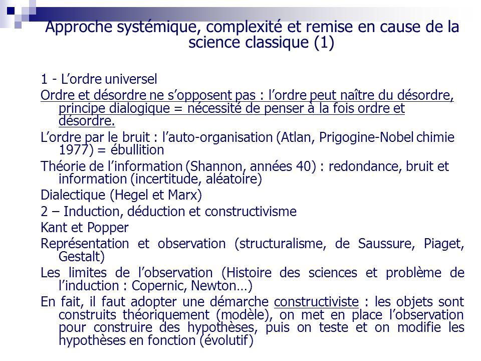 Approche systémique, complexité et remise en cause de la science classique (1)