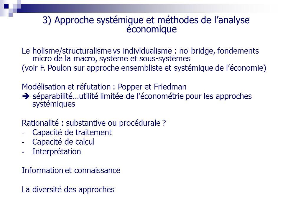 3) Approche systémique et méthodes de l'analyse économique