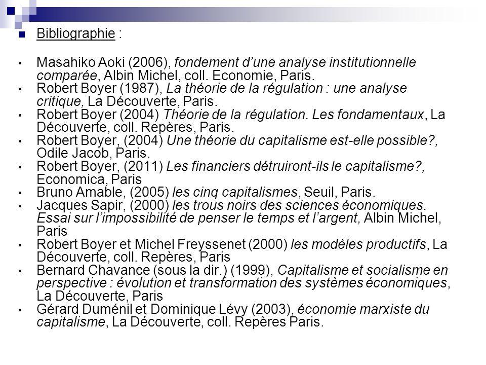 Bibliographie : Masahiko Aoki (2006), fondement d'une analyse institutionnelle comparée, Albin Michel, coll. Economie, Paris.