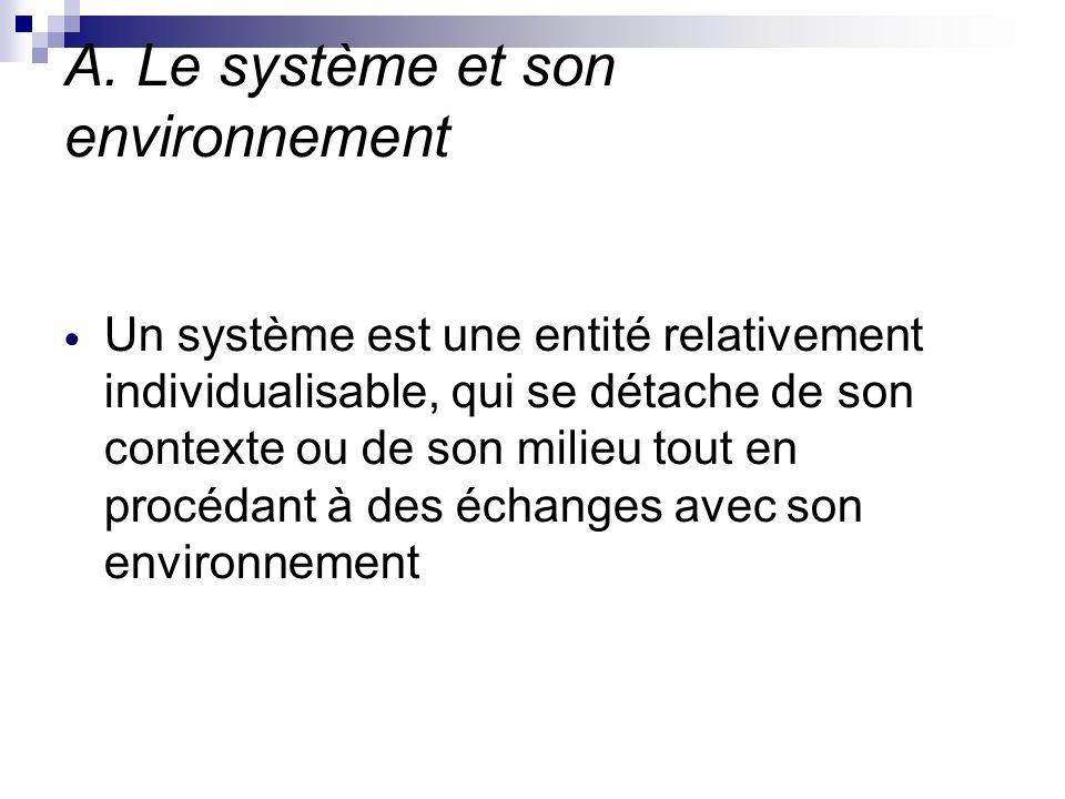 A. Le système et son environnement