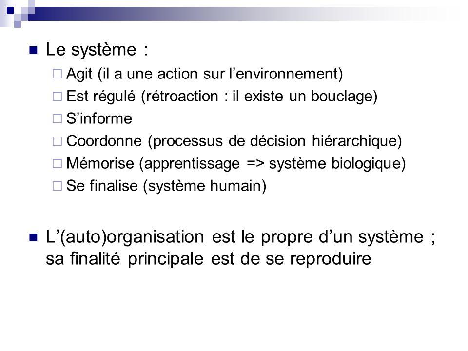 Le système : Agit (il a une action sur l'environnement) Est régulé (rétroaction : il existe un bouclage)