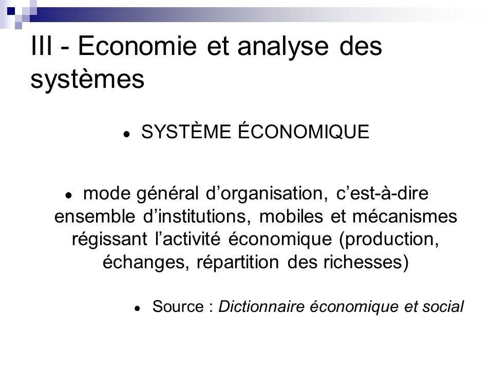 III - Economie et analyse des systèmes