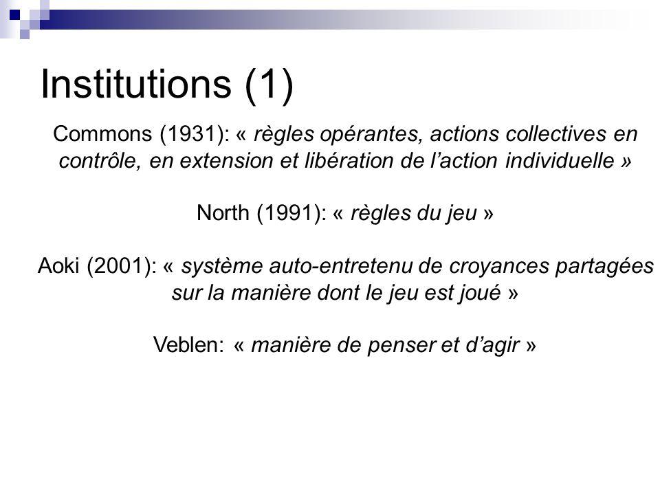 Institutions (1) Commons (1931): « règles opérantes, actions collectives en contrôle, en extension et libération de l'action individuelle »
