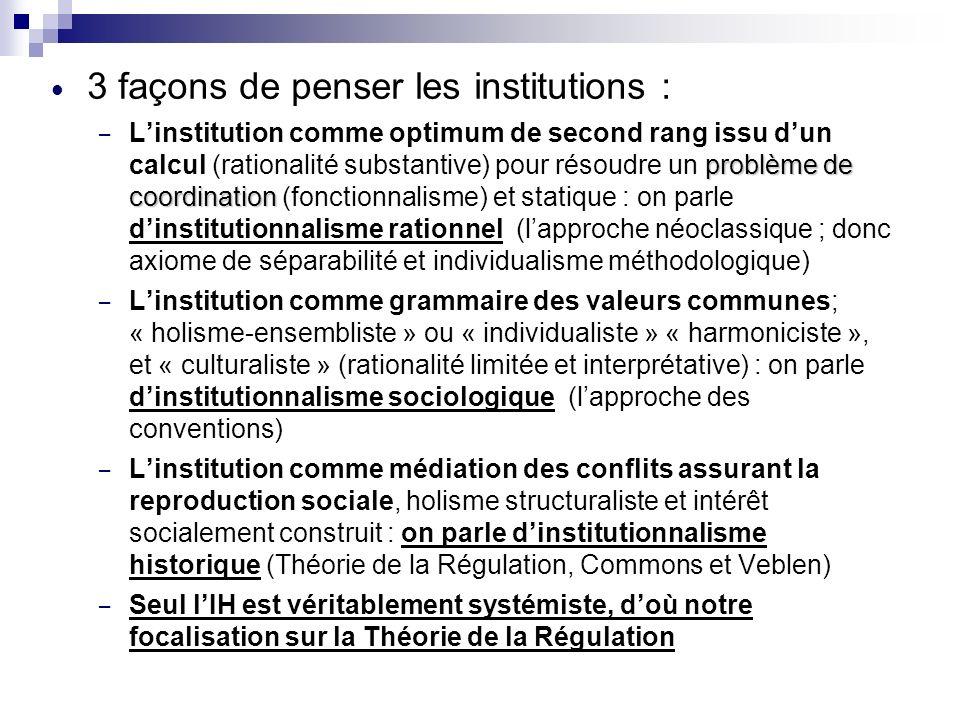 3 façons de penser les institutions :