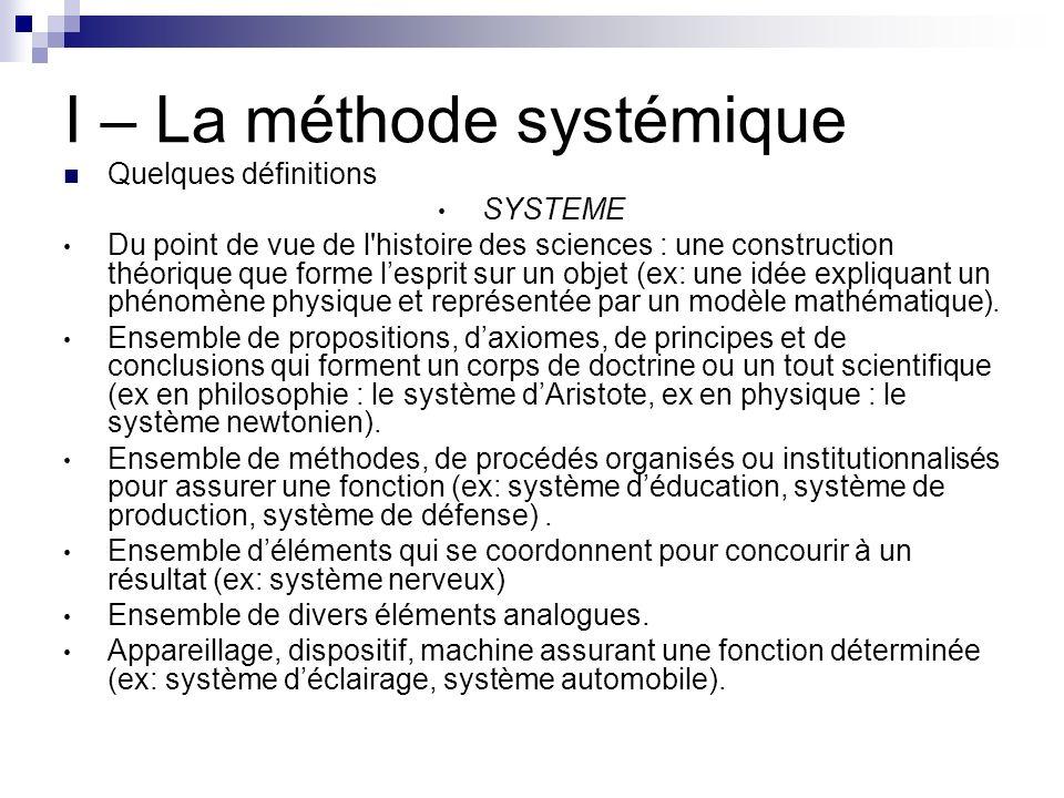 I – La méthode systémique