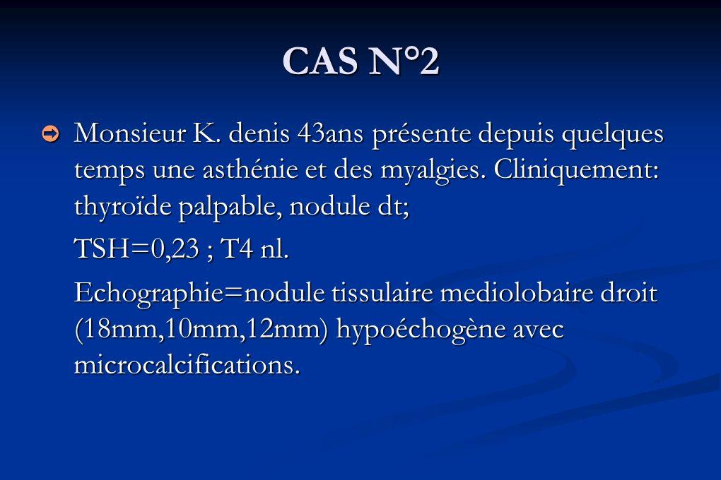 CAS N°2 Monsieur K. denis 43ans présente depuis quelques temps une asthénie et des myalgies. Cliniquement: thyroïde palpable, nodule dt;