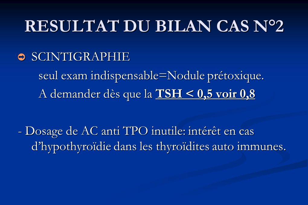 RESULTAT DU BILAN CAS N°2