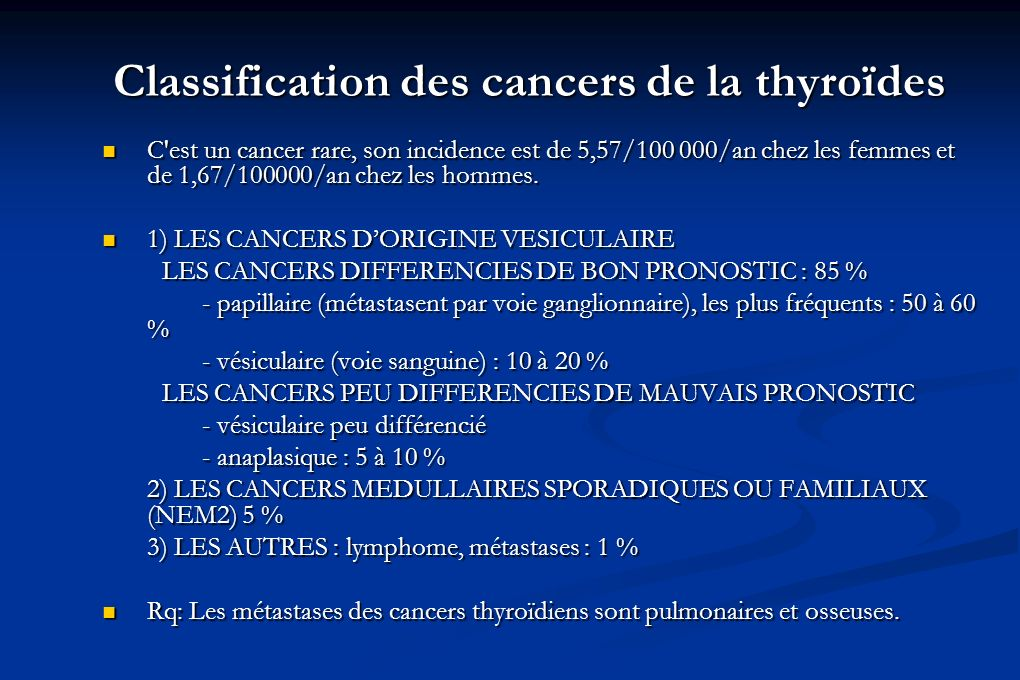 Classification des cancers de la thyroïdes