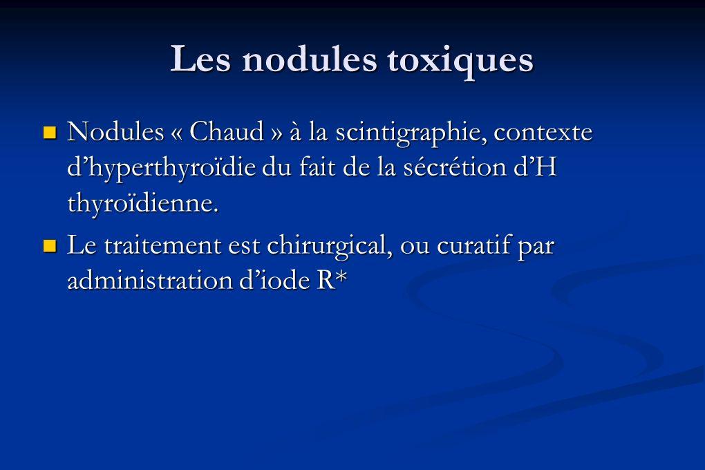 Les nodules toxiques Nodules « Chaud » à la scintigraphie, contexte d'hyperthyroïdie du fait de la sécrétion d'H thyroïdienne.