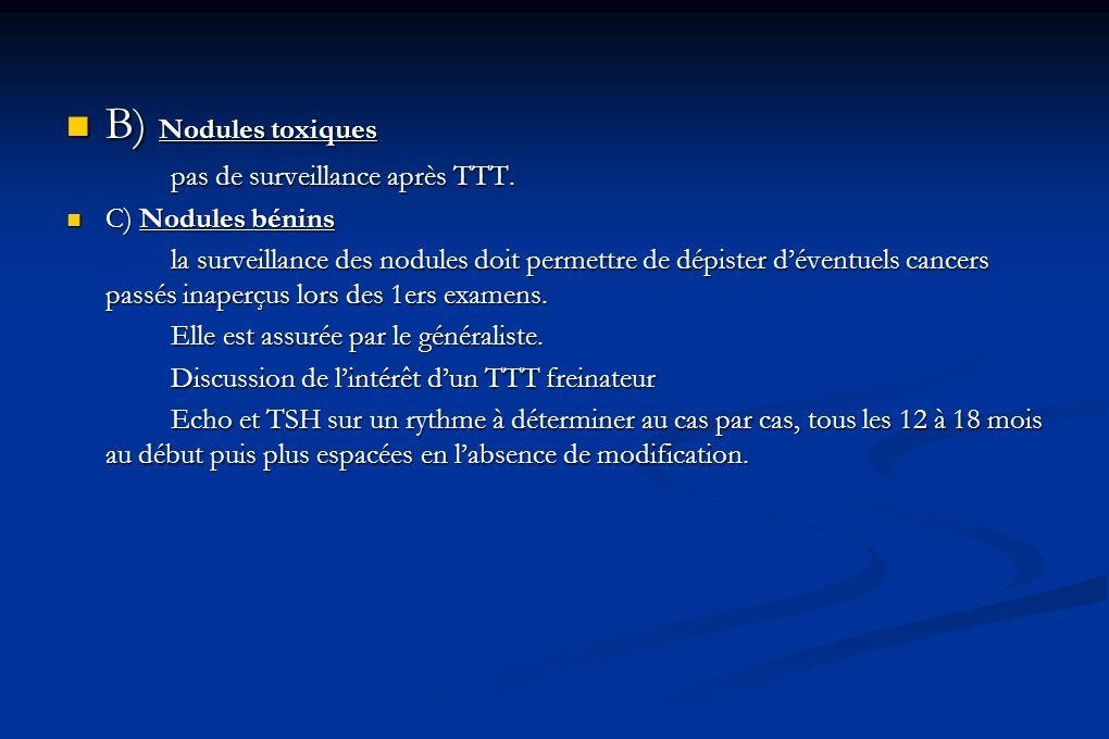 B) Nodules toxiques pas de surveillance après TTT. C) Nodules bénins
