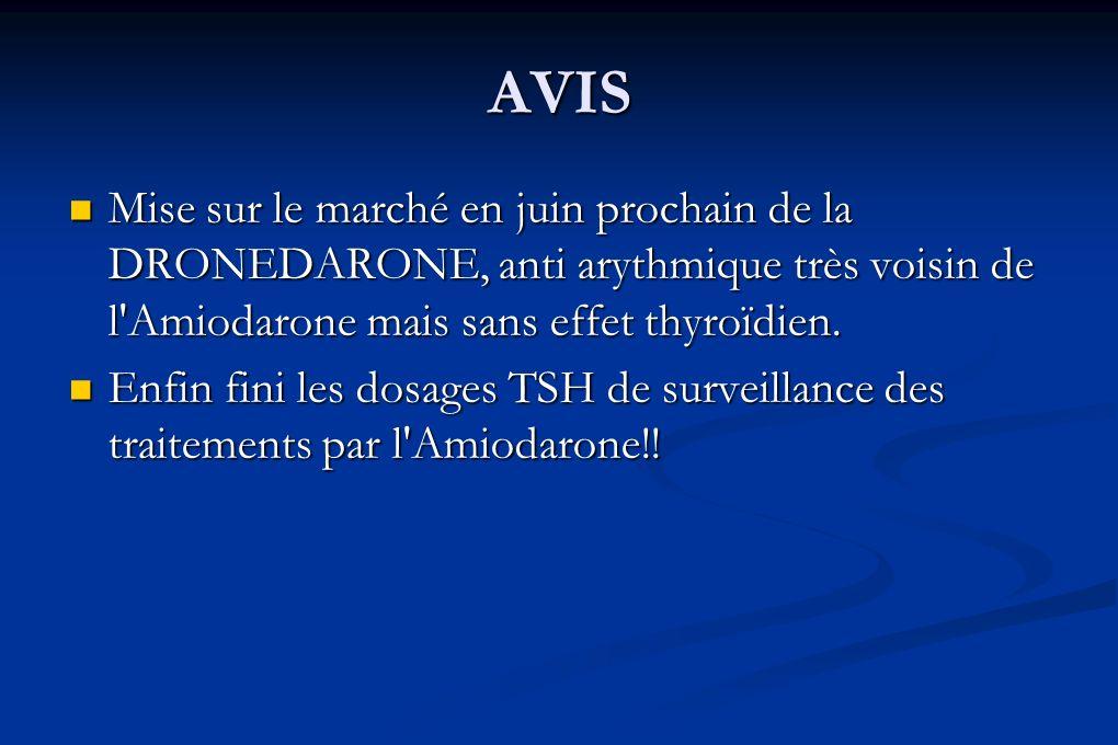 AVIS Mise sur le marché en juin prochain de la DRONEDARONE, anti arythmique très voisin de l Amiodarone mais sans effet thyroïdien.