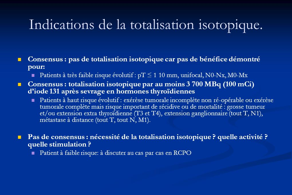 Indications de la totalisation isotopique.