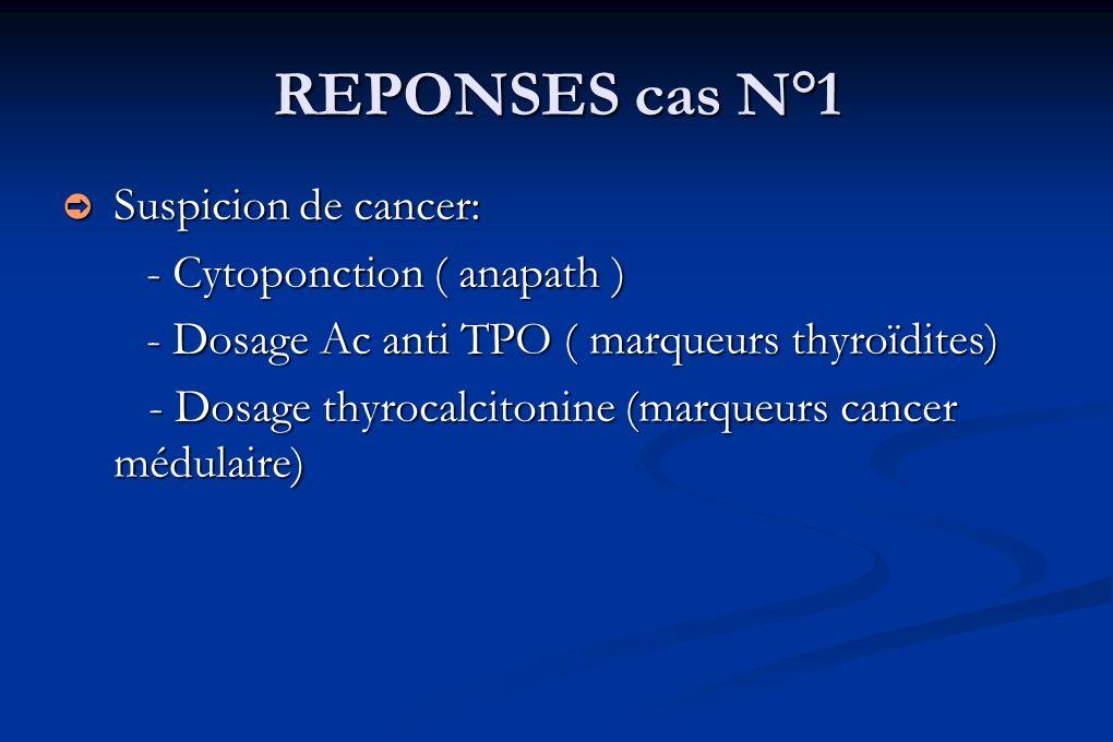REPONSES cas N°1 Suspicion de cancer: - Cytoponction ( anapath )