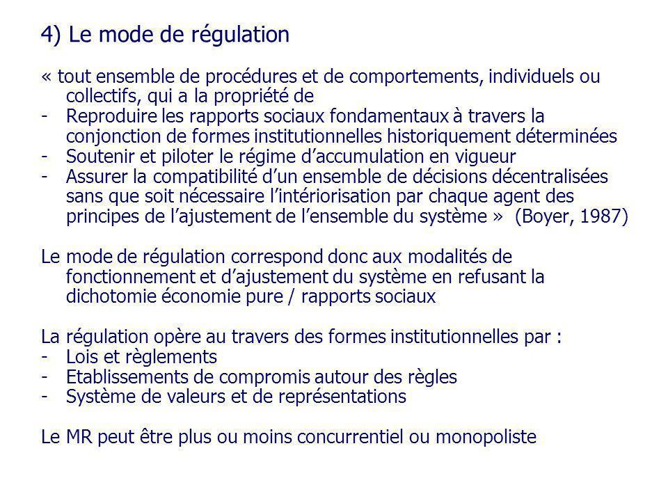 4) Le mode de régulation « tout ensemble de procédures et de comportements, individuels ou collectifs, qui a la propriété de.