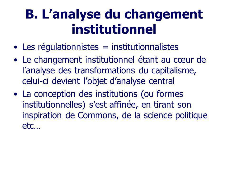 B. L'analyse du changement institutionnel