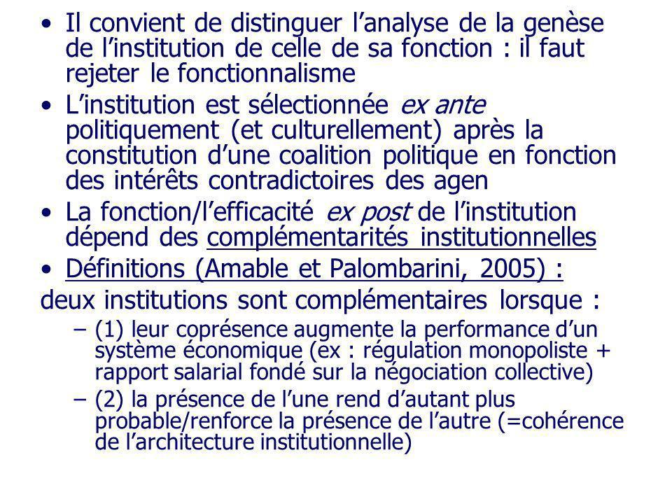 Définitions (Amable et Palombarini, 2005) :