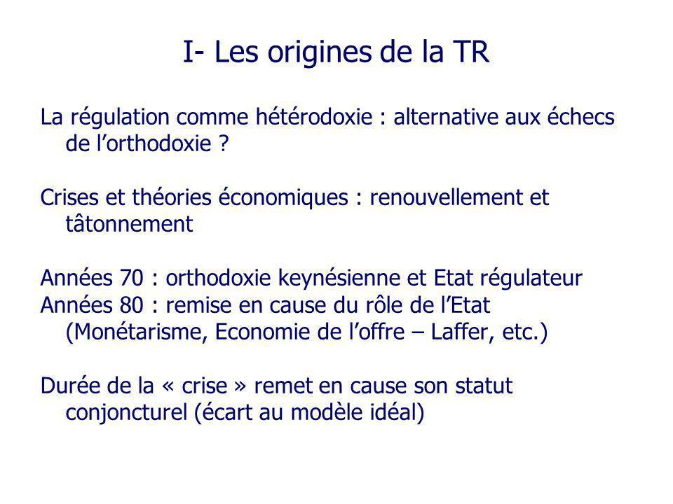 I- Les origines de la TR La régulation comme hétérodoxie : alternative aux échecs de l'orthodoxie