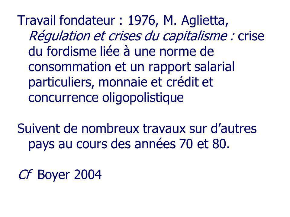 Travail fondateur : 1976, M. Aglietta, Régulation et crises du capitalisme : crise du fordisme liée à une norme de consommation et un rapport salarial particuliers, monnaie et crédit et concurrence oligopolistique