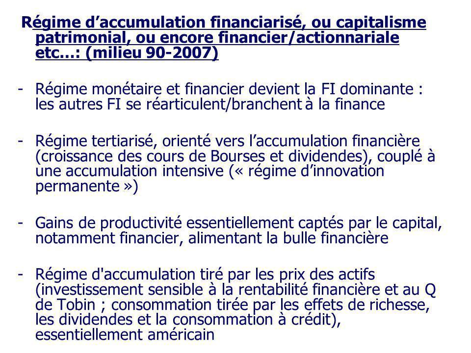 Régime d'accumulation financiarisé, ou capitalisme patrimonial, ou encore financier/actionnariale etc…: (milieu 90-2007)
