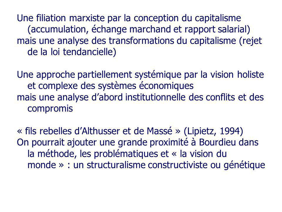 Une filiation marxiste par la conception du capitalisme (accumulation, échange marchand et rapport salarial)