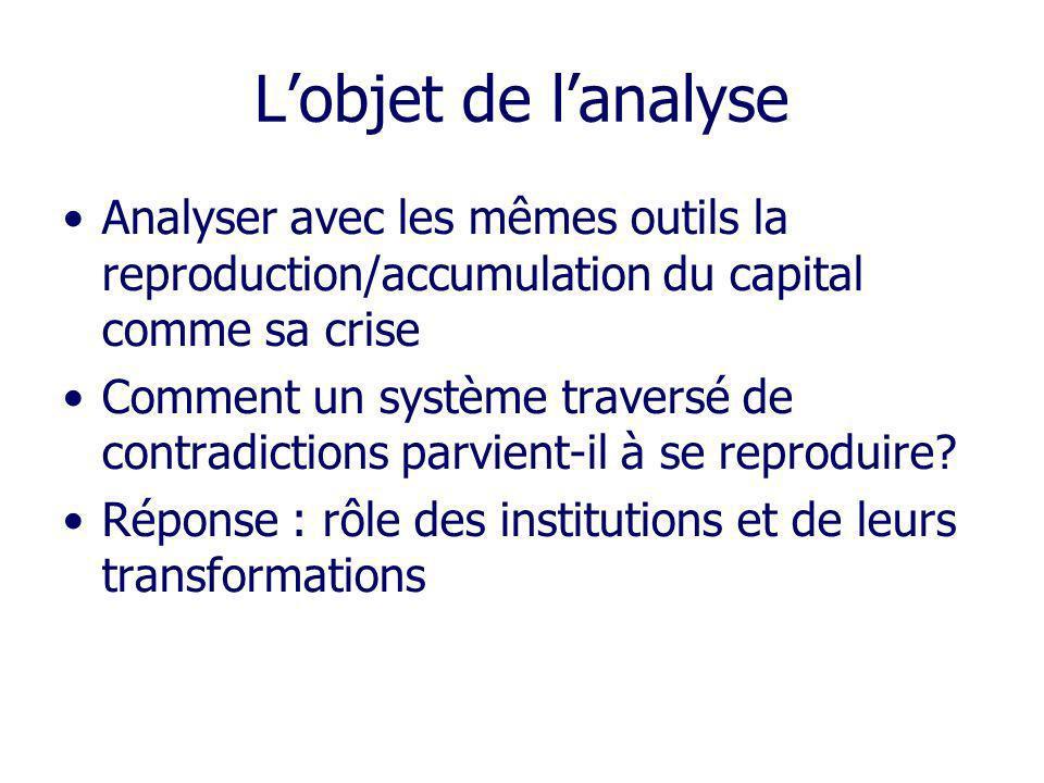 L'objet de l'analyse Analyser avec les mêmes outils la reproduction/accumulation du capital comme sa crise.