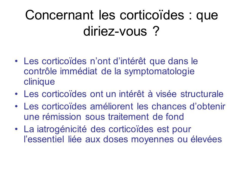 Concernant les corticoïdes : que diriez-vous