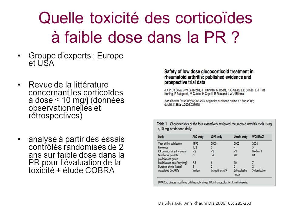 Quelle toxicité des corticoïdes à faible dose dans la PR