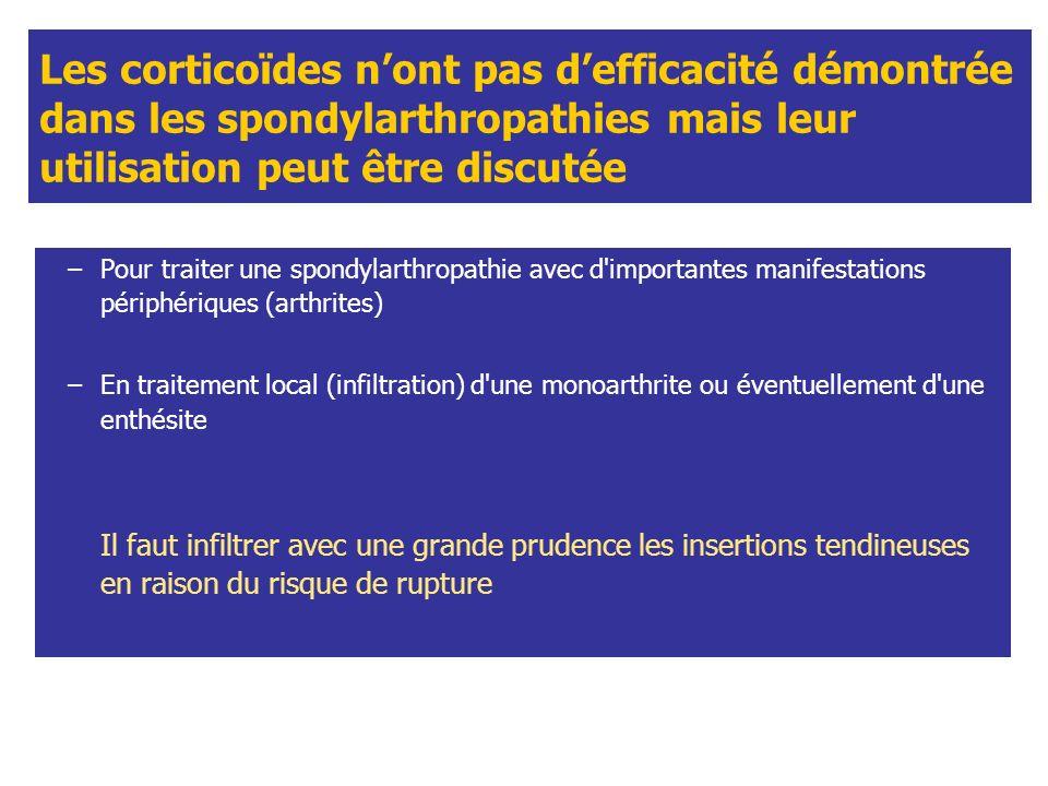 Les corticoïdes n'ont pas d'efficacité démontrée dans les spondylarthropathies mais leur utilisation peut être discutée