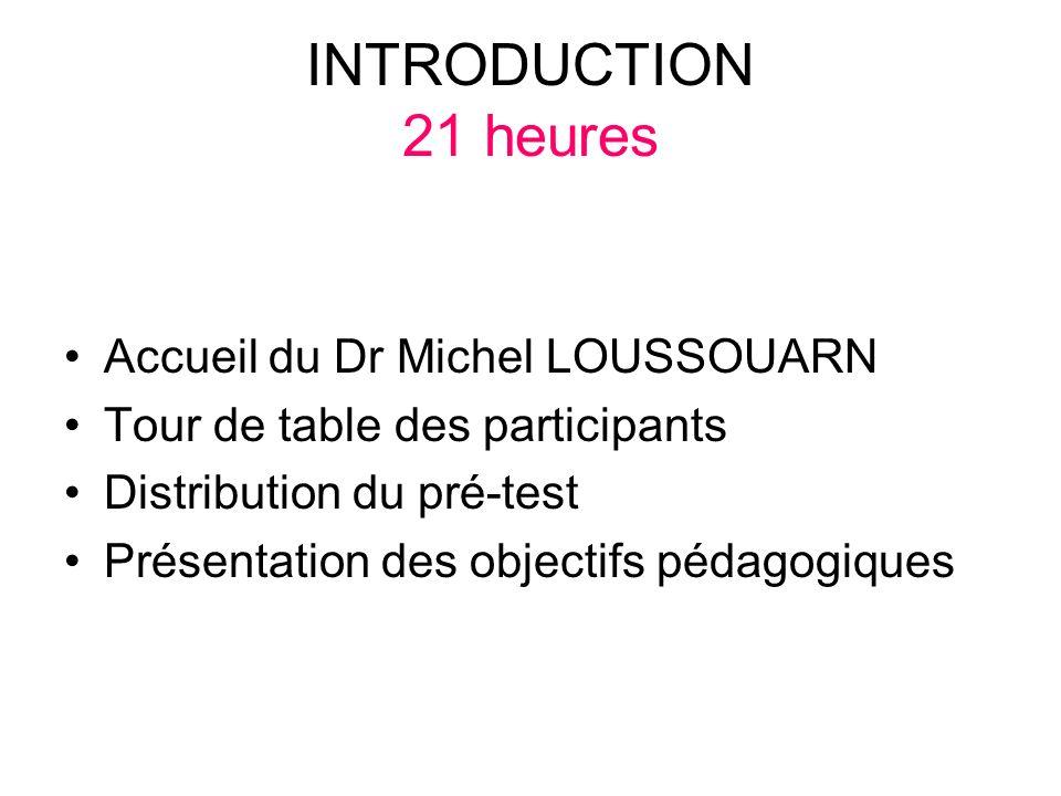 INTRODUCTION 21 heures Accueil du Dr Michel LOUSSOUARN
