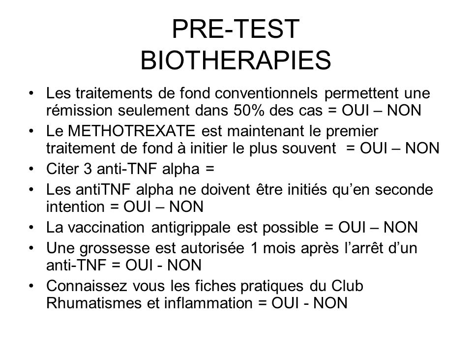 PRE-TEST BIOTHERAPIES
