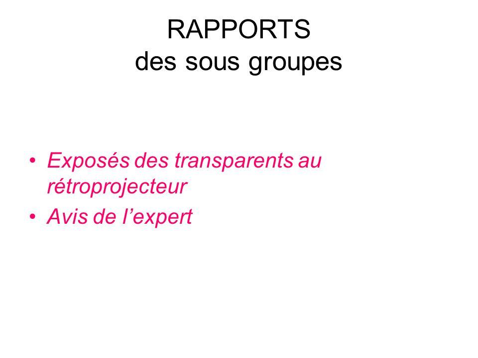 RAPPORTS des sous groupes
