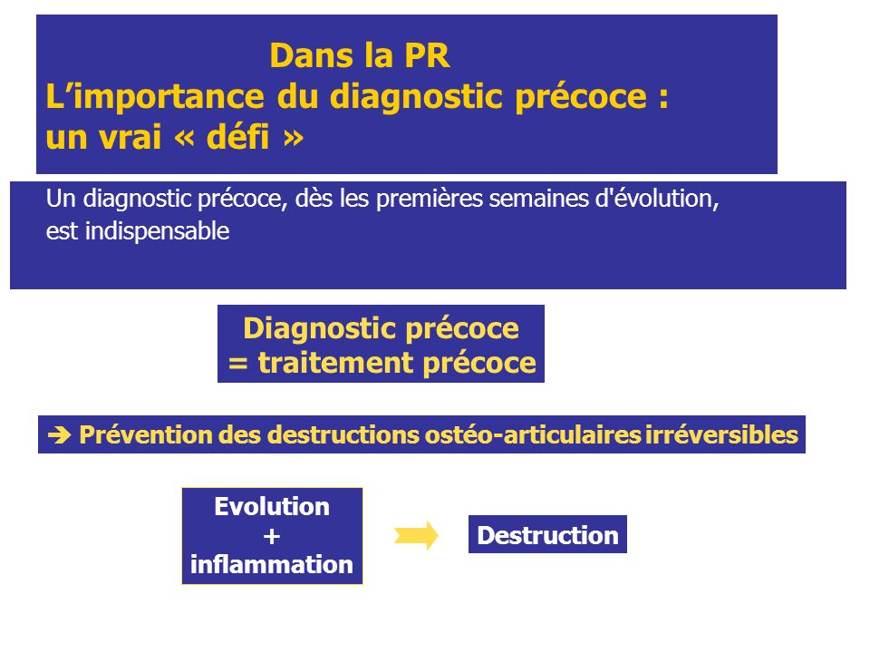 Dans la PR L'importance du diagnostic précoce : un vrai « défi »