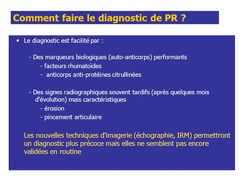 Comment faire le diagnostic de PR