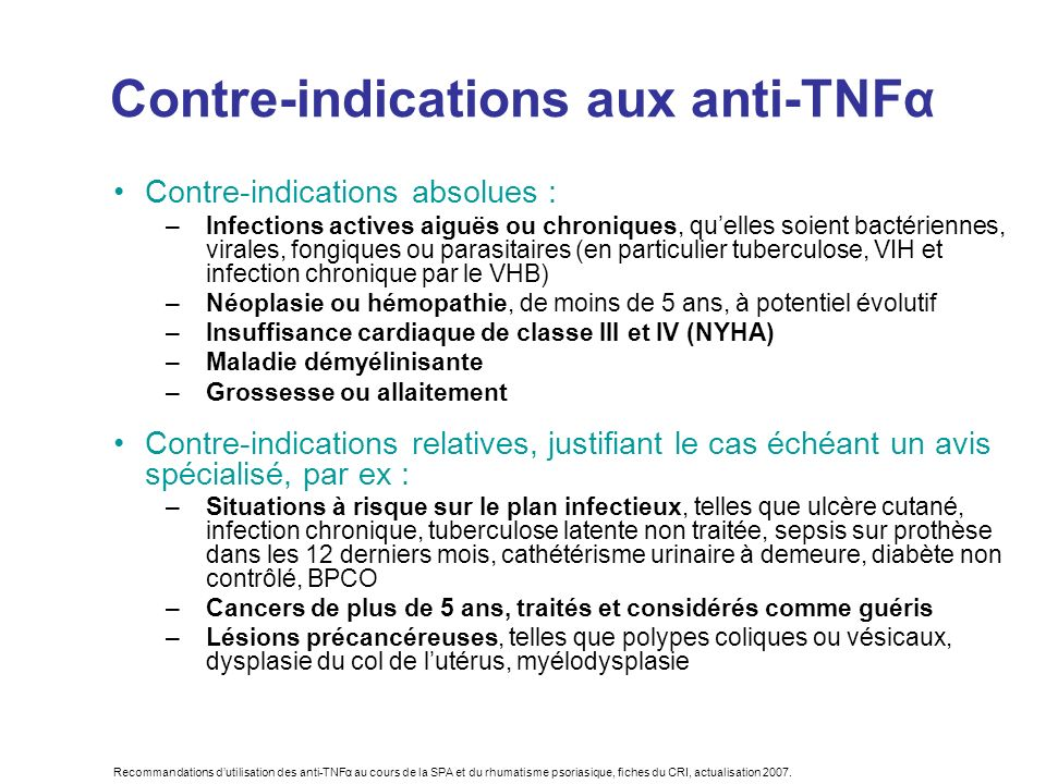 Contre-indications aux anti-TNFα